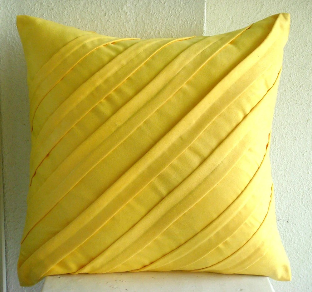 Contemporary Yellow Euro Sham Covers 26x26 Inches Suede