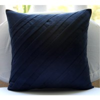 Contemporary Navy Blue Pillow Sham Covers 24x24 Inches