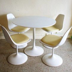 Milo Baughman Chair Baby Cushion Vintage Saarinen Style White Tulip Dining Set Of 4 Swivel