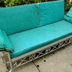 Metal Sofa Glider Foam Fold Out Bed Nz Vintage 1950s Aqua Vinyl Aluminum Patio