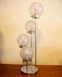 Vintage Mid Century Modern Bubble Glass Globe Chrome Lamp