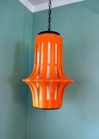 Vintage Orange Ceramic Hanging Swag Lamp Fixture 1960s Mod