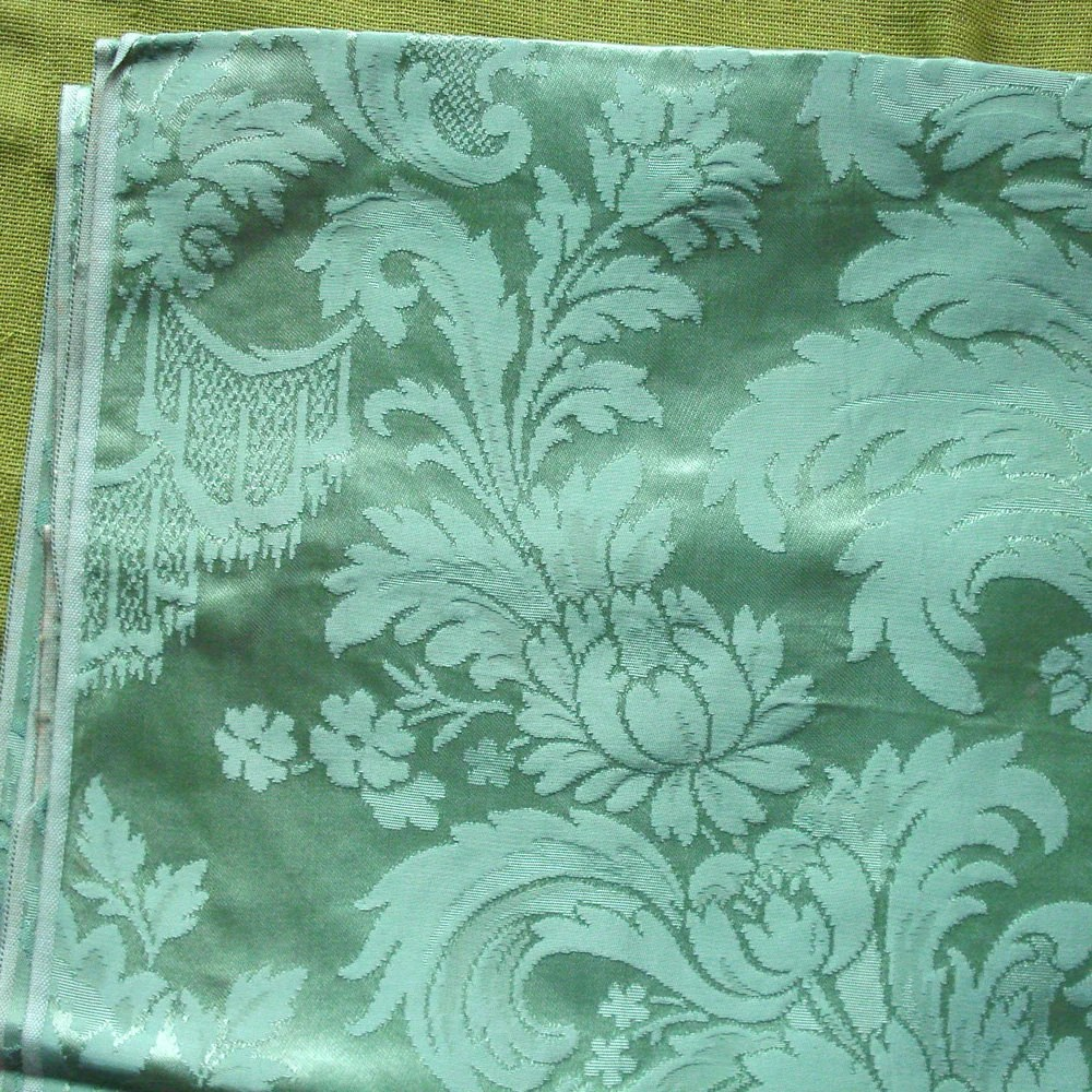 Vintage DAMASK Upholstery Fabric Sage Green Large Print