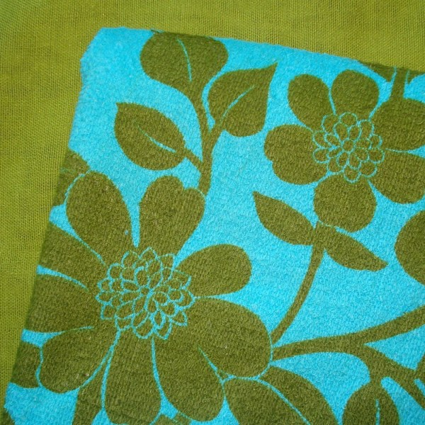 Vintage Terry Cloth Fabric Floral Teal And Olive