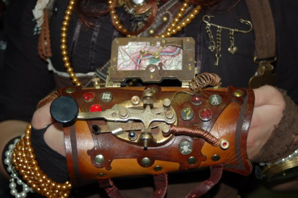 Steampunk Morse Code Key Gadget Leather Arm Guard Bracer