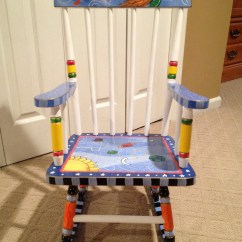 Unfinished Rocking Chair Sling Stackable Patio Chairs Items Similar To Hand Painted Childs On Etsy