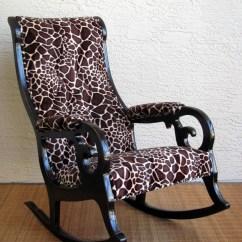 Antique Victorian Folding Rocking Chair Zebra Camping Vintage In Giraffe Print Free