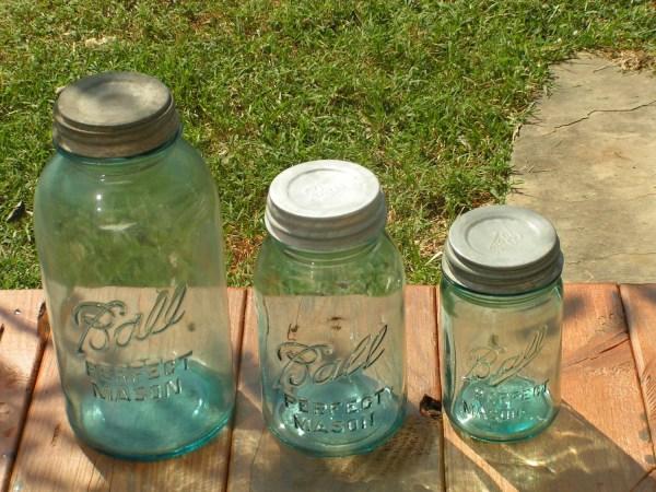 Blue Ball Mason Jars With Zinc Lids Set Of Three