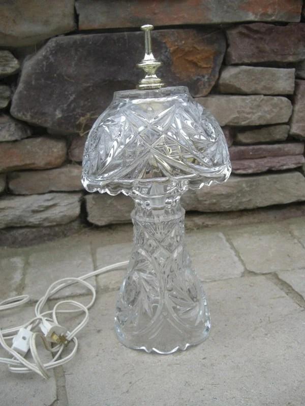 Vintage Lead Crystal Desk Dresser Vanity Night Lamp with by defdif