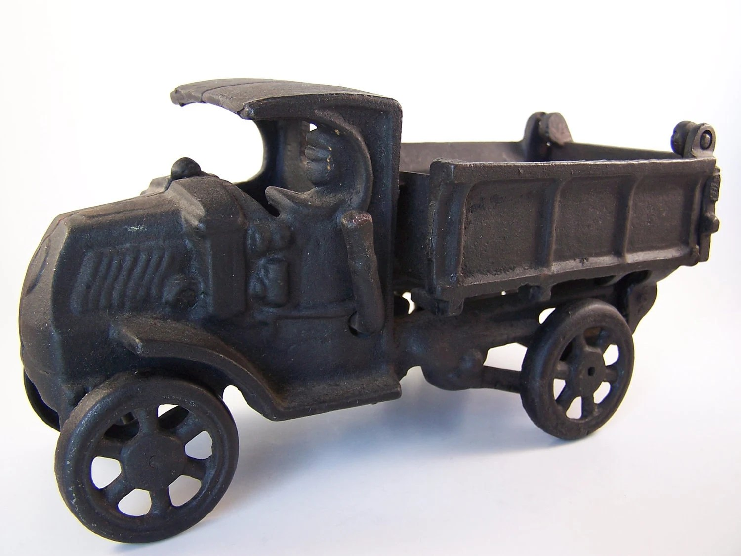 Vintage Cast Iron Pick Up Truck Dump Truck Color Black Perfect