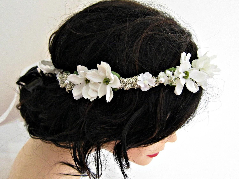 Bridal White Flower Head Wreath Headband