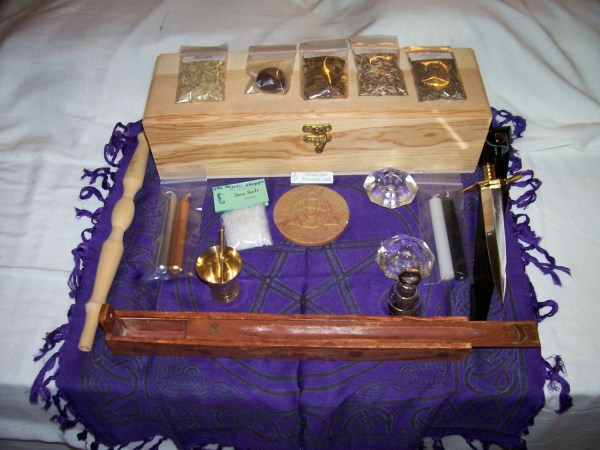 Portable Wiccan Altar Kit Wooden Box