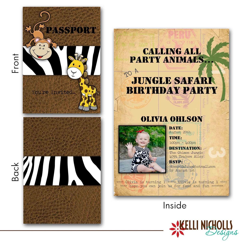 jungle safari birthday passport invitation
