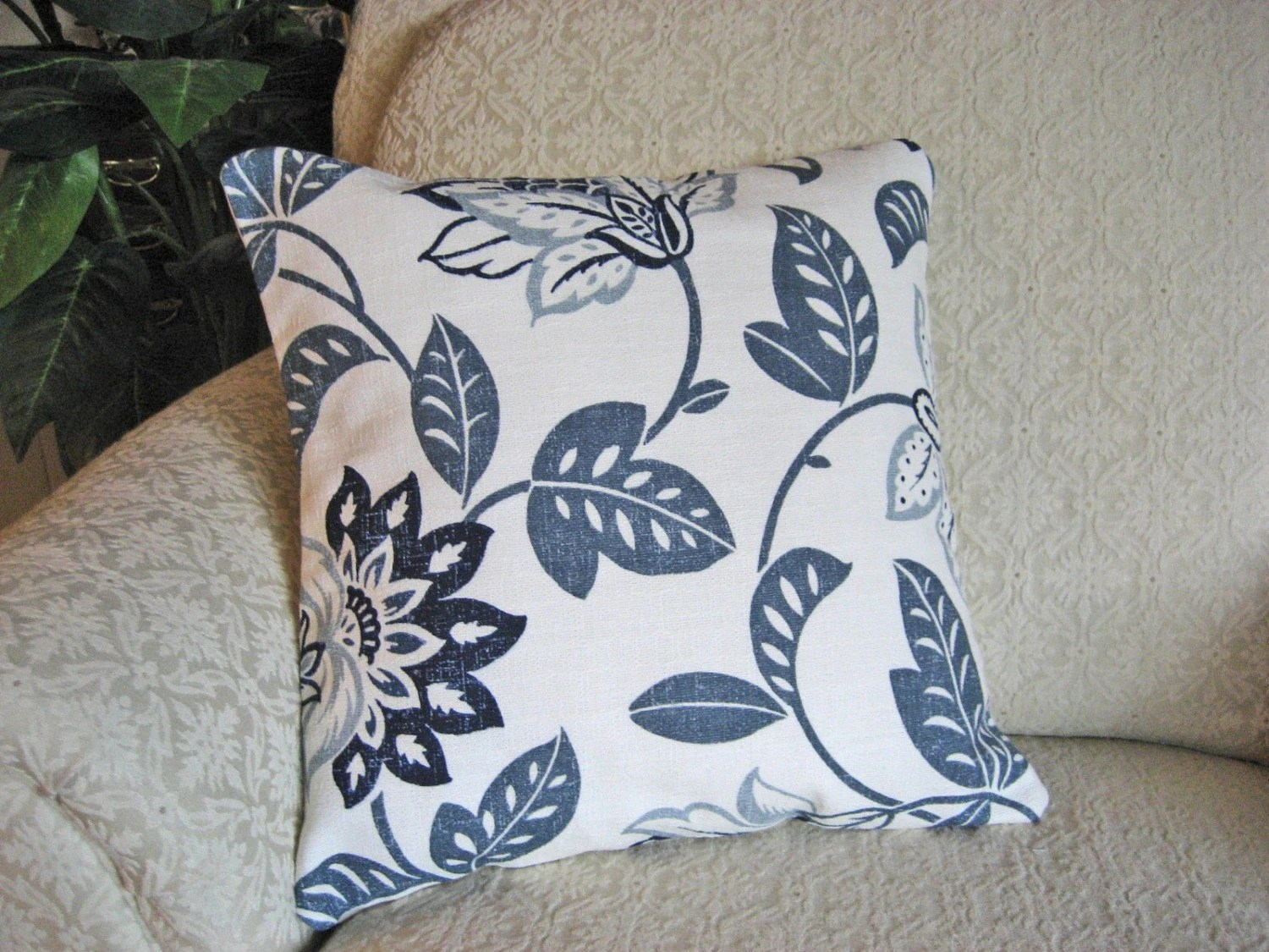 Navy Blue Throw Pillow Cover 16 X 16 Large Floral