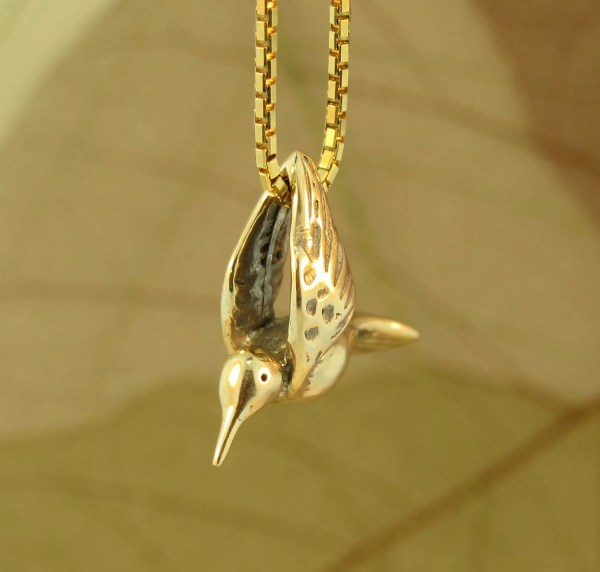 Hummingbird Necklace 14k Gold Solid Charm