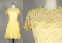 Vintage 50s Dress Lace Beads Chiffon Canary Yellow Party