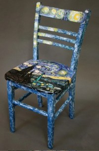 Hand Painted Wooden Kitchen Chair Starlight by Jayne Bruck