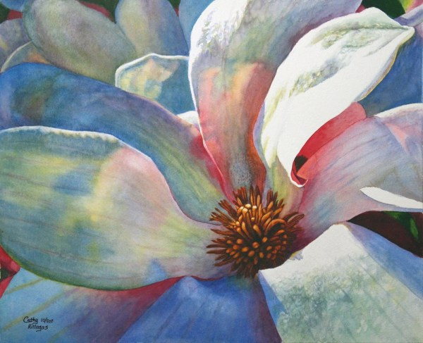 Tulip Magnolia Art Watercolor Painting Print Cathy