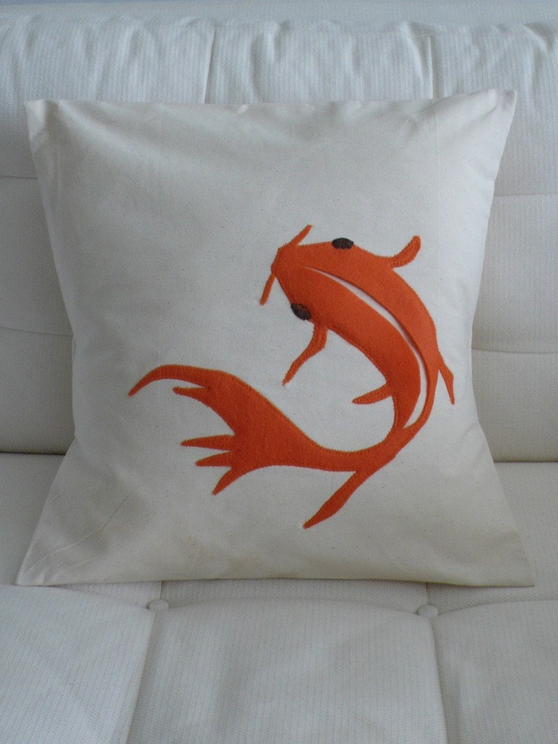 Appliqued Koi Fish pillow  cushion cover 16in x by SewEnglish