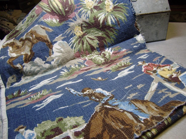 Vintage Western Cowboy Barkcloth Fabric by TheVintageThread