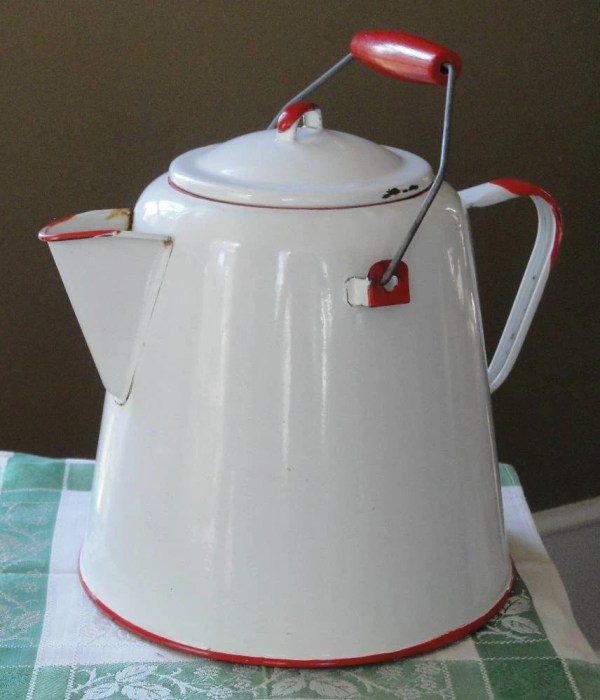 Vintage Red And White Large Enamelware Coffee Pot