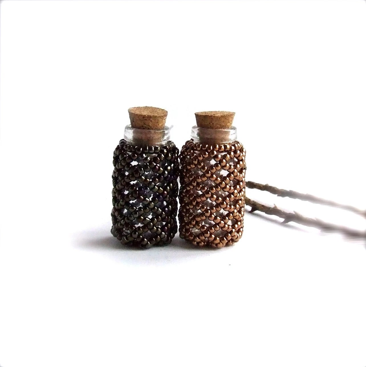 Mini Glass Seed Beaded Bottle Set - Bronze and Olive - Handmade Home Decor -Glass Vial with Cork - Bud Vase- - balanced
