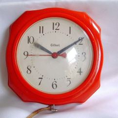 Gilbert Kitchen Clock How To Paint Your Cabinets Vintage Red Retro Wall Electric