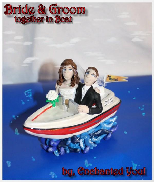 Wedding Cake Topper Bride & Groom In Boat