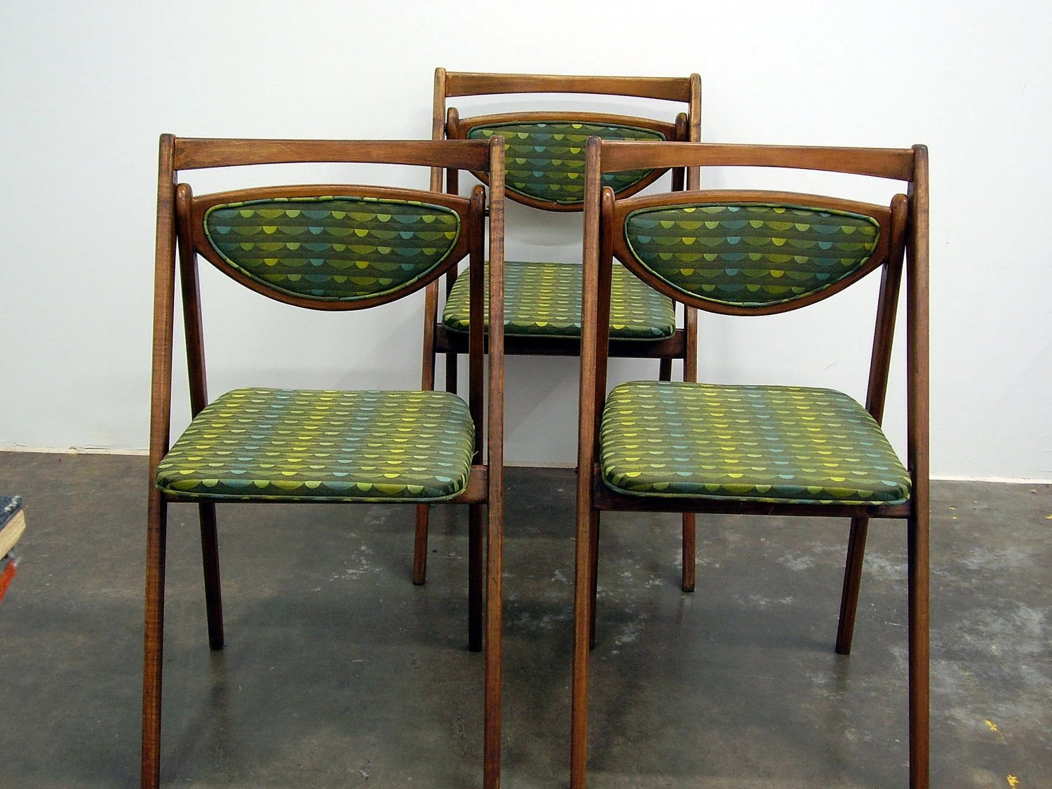 vintage wooden chairs outdoor rocking mid century stakmore folding set of 3