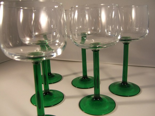 Vintage Long Stem Wine Glasses In Gorgeous Green Set Of Six