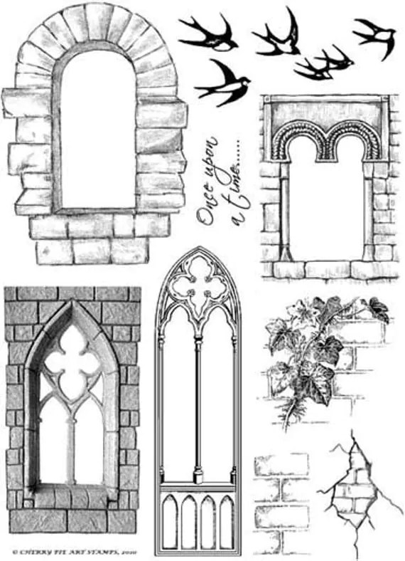 CASTLE WINDOWS set of unmounted rubber stamps by Cherry Pie