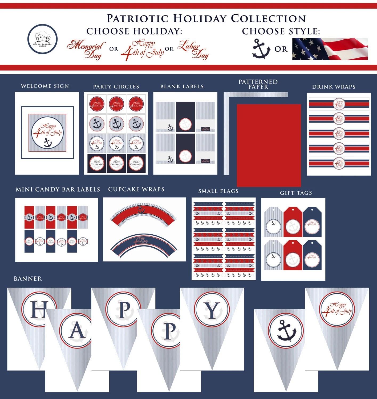 Patriotic Seersucker Printable Party Decor Package Red
