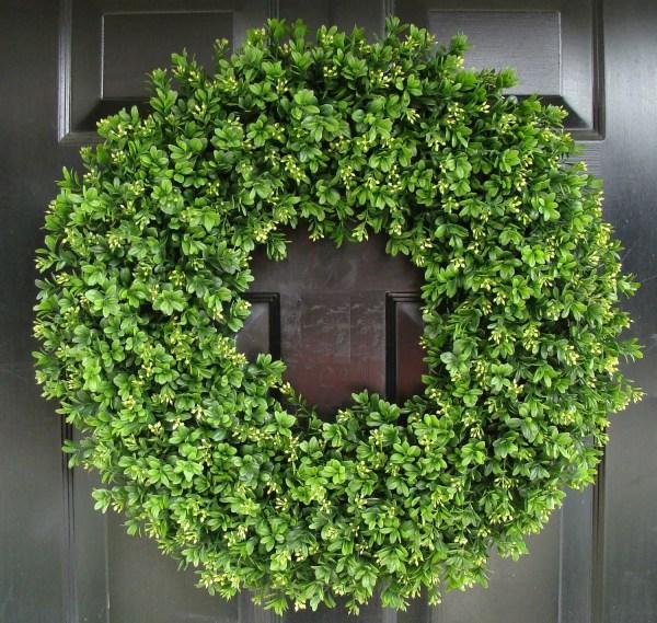 Year Wreath Artificial Boxwood Door Front