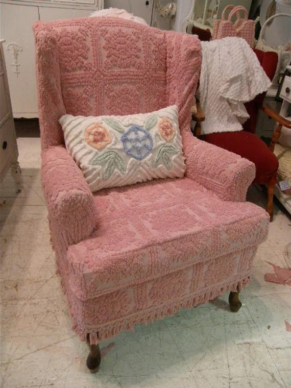 wingback chair slipcover pattern tables and chairs wholesale in los angeles pink roses vintage by vintagechicfurniture