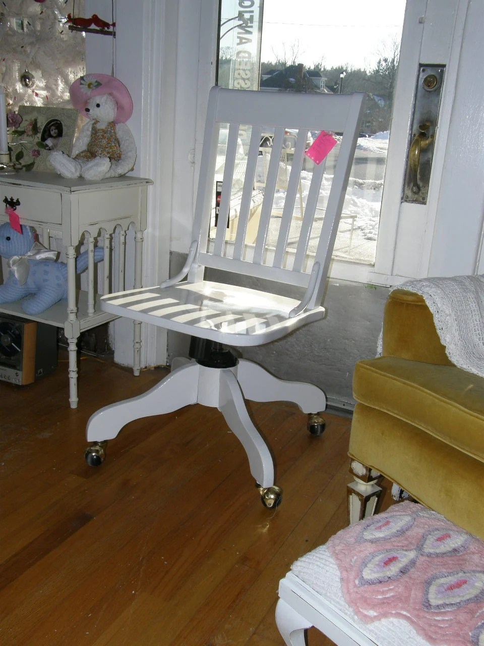 shabby chic white desk chair vintage by VintageChicFurniture