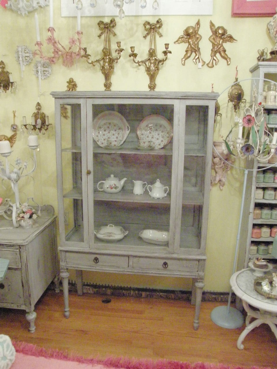 antique shabby chic china cabinet french gray distressed