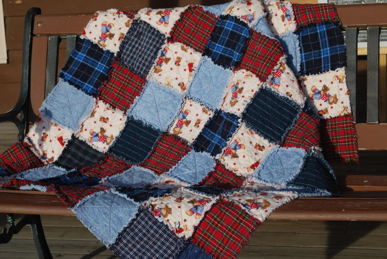 Flannel Rag Quilt Cowboy Motif Red Blue Plaid Denim Teddy Bear