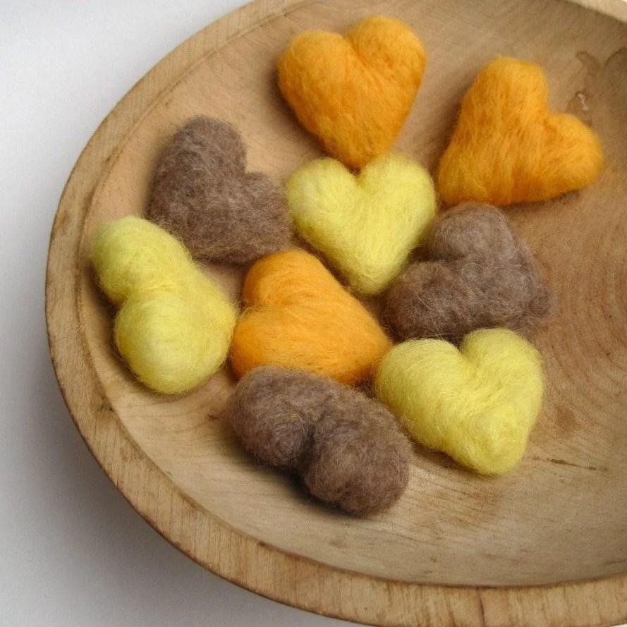 Honey Heart Felts Pebbles in Wool SET of 9 - Gold, Lemon and Tea - Eco Friendly Rustic Fall Home Decor - SewnNatural