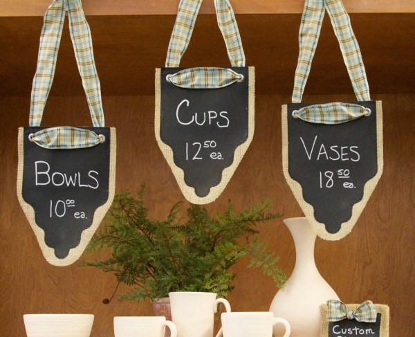 Chalkboard Burlap Banners . Labels Signs Pennants