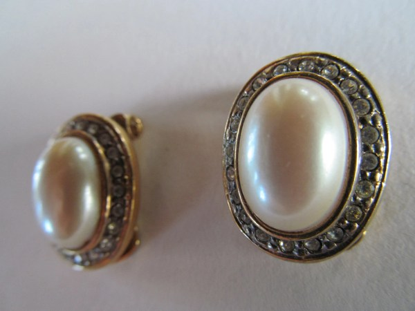 Faux Pearl And Diamond Earrings Costume Jewelry Clip