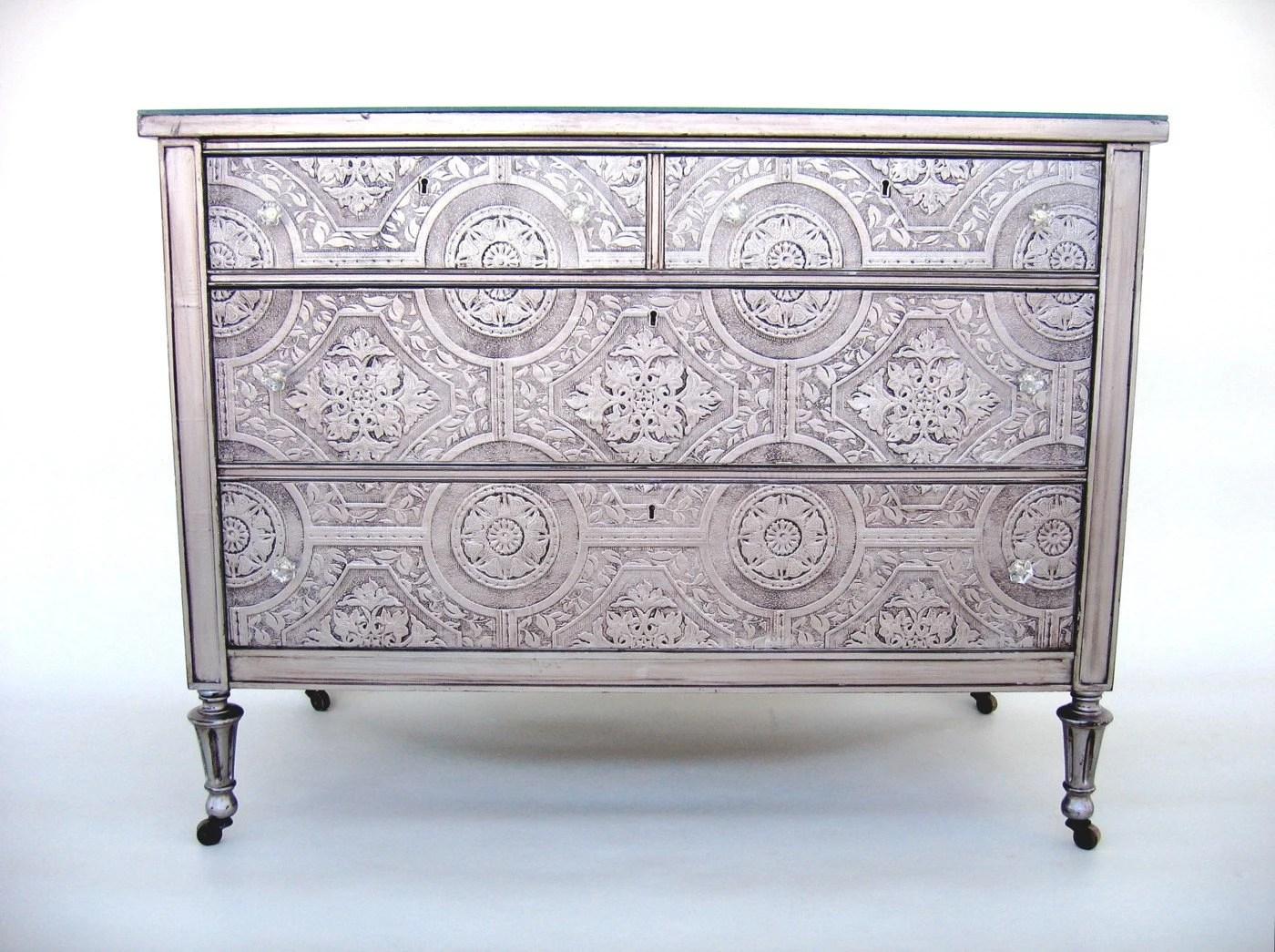 Mirror Top Silver Dresser