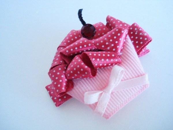 Boutique Cupcake Clippie Ribbon Sculpture Pink Bowsweet