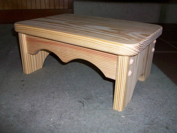 Smaller Handcrafted Unfinished Pine Step Stool