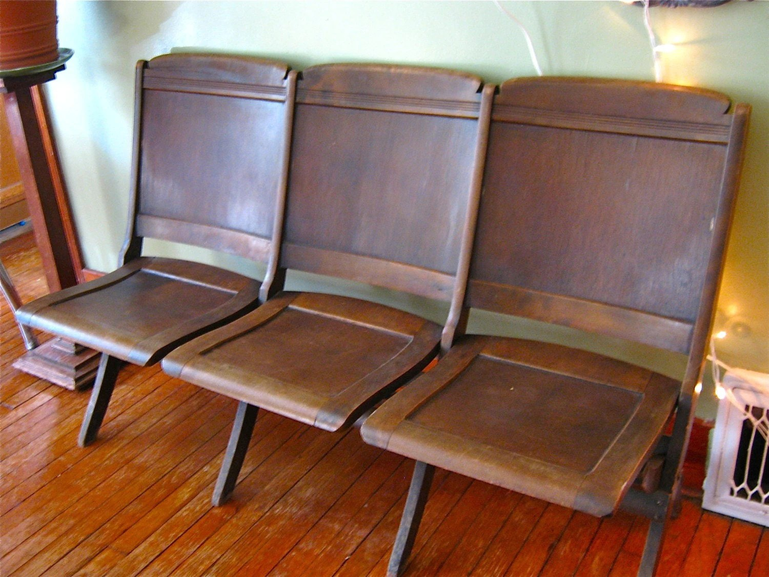 Movie Theater Chairs Mark Down Vintage Antique Folding Wooden Movie Theater Seats