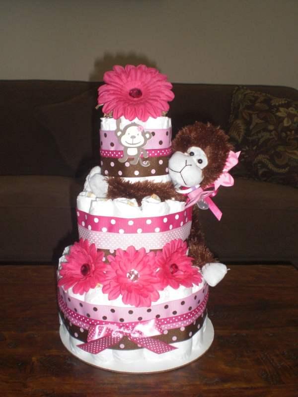 Monkey Girl Diaper Cake Baby Shower Bearbottomdiapercakes