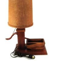 Vintage 1950's Wooden Water Pump Lamp