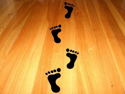 Vinyl decals feet for your floor by lostcabin on Etsy