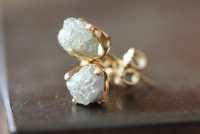 Rough Diamond Stud Earrings in 14kt Gold as seen in LUCKY