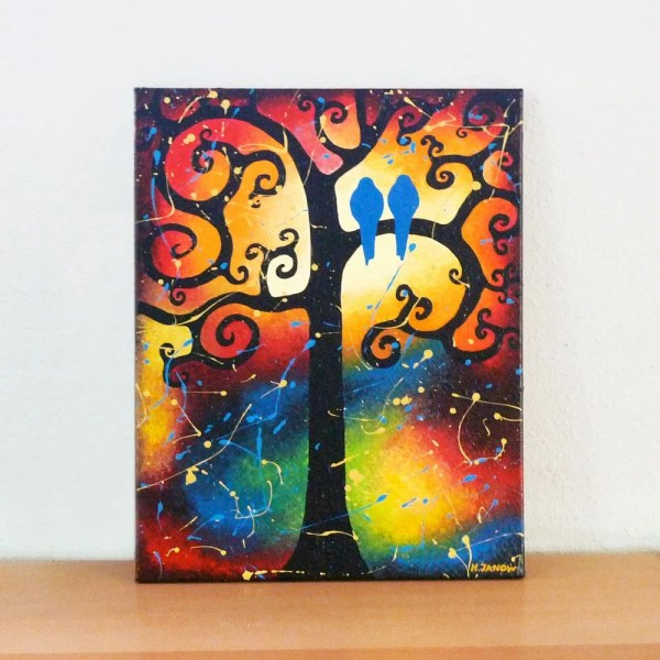 Bird Painting Whimsical Lovebirds Tree Of Life Art