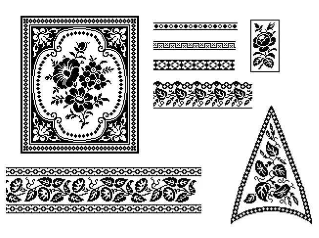Floral filet from 1862 cross stitch / filet crochet pattern
